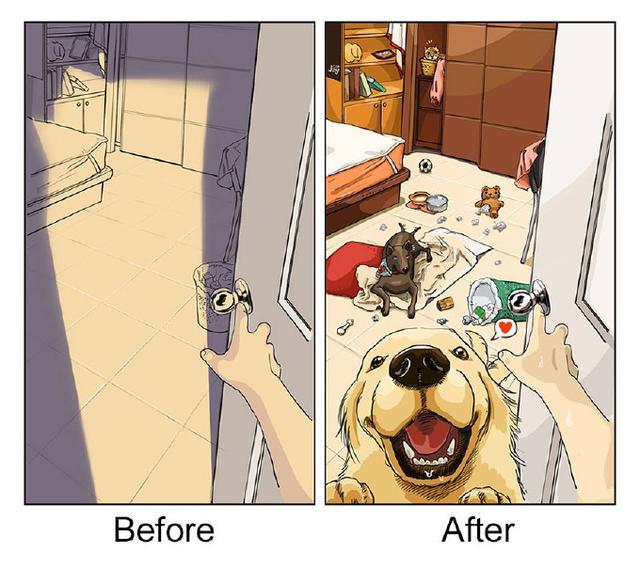 自从家里养了狗,就感觉自己变成了工人。9张简单的插画,引起爱汪族的共鸣!